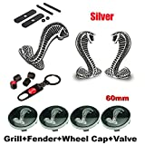 BENZEE 11pcs Set AM120 Cobra Front Grille Silver + Back Car Emblem Badge Sticker + Wheel Hub Caps + Tire Valve Caps For Ford Mustang Shelby Cobra