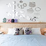 Super Cute Cartoon Decorative Letters Hello Kitty Mirror Wall Stickers Décor For Kids Rooms Nursery Girls Bedroom Room Decoration Home Decor R233