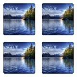 Ambesonne Alaska Coaster Set of Four, Turnagain Arm of The Cook Inlet Anchorage Idyllic Lakeside Photography, Square Hardboard Gloss Coasters for Drinks, Lime Green Navy Blue