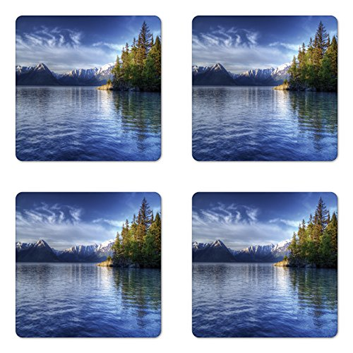 Ambesonne Alaska Coaster Set of Four, Turnagain Arm of The Cook Inlet Anchorage Idyllic Lakeside Photography, Square Hardboard Gloss Coasters for Drinks, Lime Green Navy Blue by Ambesonne (Image #1)