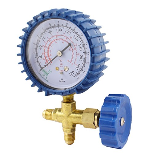 uxcell Brass Single Manifold Gauge Valve for Air Condition Blue