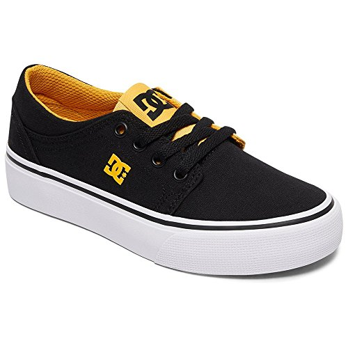 Image of DC Boys' Trase TX Skate Shoe, Black/Yellow, 6 M M US Big Kid