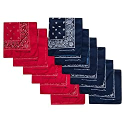 Camel Brand Bandana 12 Pack 21x21 Polyester (Red & Navy)