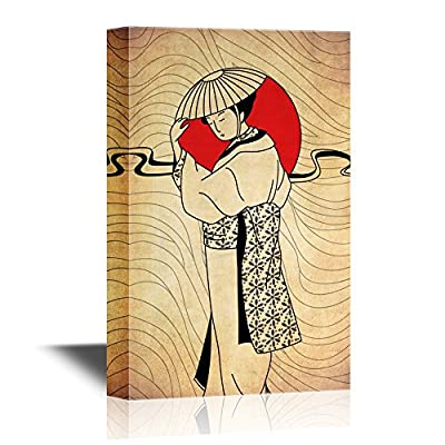 Japanese Culture Canvas Wall Art - Japanese Woman and The Red Sun - Gallery Wrap Modern Home Art | Ready to Hang - 12x18 inches