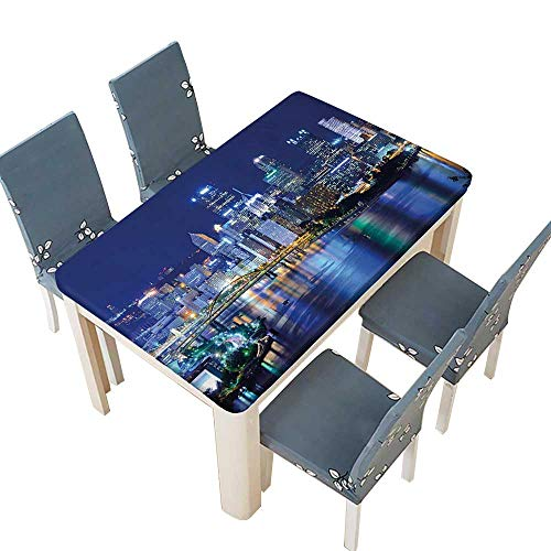 PINAFORE Polyester Cloth Fabric Cover Downtown Pittsburgh USA American Night Skyline Business Town Scenery Grey Blue Decorative Tablecloths for Kitchen Room W73 x L112 INCH (Elastic Edge)