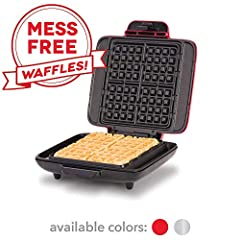Prepare 4 warm, golden waffles without the sticky surfaces and dripping edges. The DASH no mess waffle maker has even heating technology to make delicious waffles that are perfectly cooked. Non-stick cooking surfaces with overflow channels keep this ...