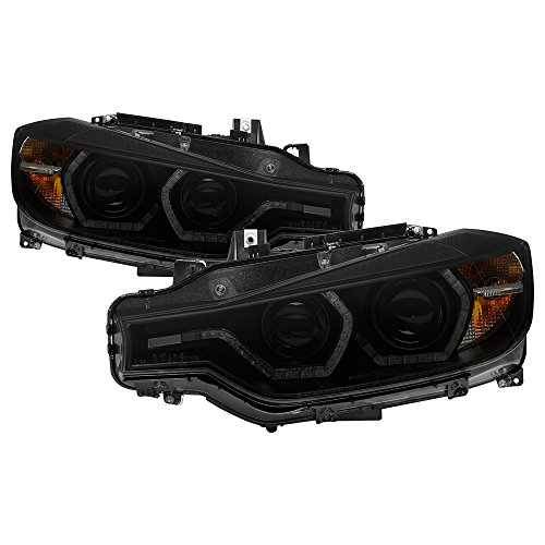 Carpart4u-Projector Headlights For 2012-2014 BMW F30 3 Series 4DR - LED DRL - Black Housing With Clear Lens Smoke