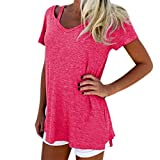 Women T Shirt,Haoricu 2017 Hot Sale!Fashion Women Summer V Neck Short Sleeve Casual Blouse (Asian Size:XL, Hot Pink)