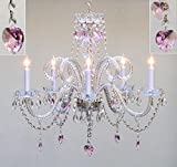 Swarovski Crystal Trimmed Chandelier! Chandelier Lighting With Pink Crystal Hearts H25 X W24 Swag Plug In-Chandelier W/14' Feet Of Hanging Chain And Wire!