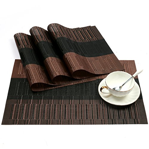 SHACOS Exquisite PVC Placemats Woven Vinyl Place Mats for Table Heat-Resistant Brown Mats (4, Ombre Coffee and Black)