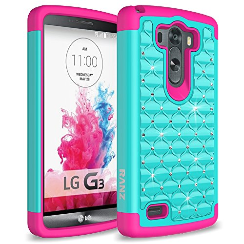 LG G3 Case, RANZ Hot Pink/Teal Spot Diamond Studded Bling Crystal Rhinestone Dual Layer Hybrid Cover Silicone Rubber Skin Hard Case For LG G3 (Lg G3 Phone Case With Rhinestones)