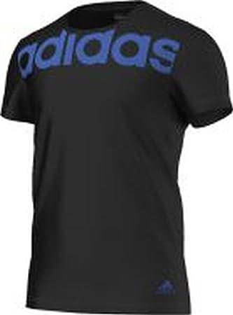 adidas Herren Essentials Linear T Shirt, SchwarzBlau, XL