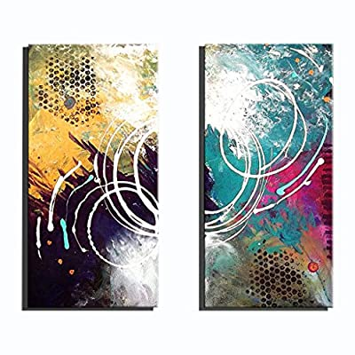 BITELL Frameless Canvas Oil Painting, 2 Piece Pure Hand Painted Decorative Paintings for Living Room, Modern Minimalist Canvas Wall Art Frame