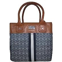 Tommy Hilfiger Small TOTE Handbag; Blue Jacquard Faux Leather