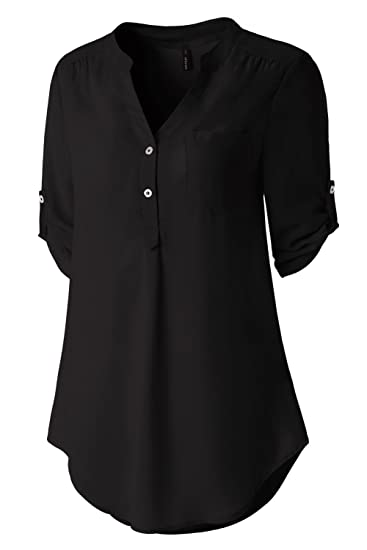 e5fa212d2 Zattcas Womens V Neck Blouses Chiffon Button Down Shirts 3/4 Roll Up Sleeve  Tunic