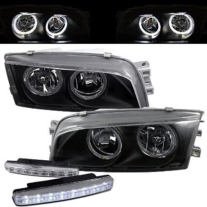 amazon com: mitsubishi mirage halo projector headlights + 8 led fog bumper  light: automotive