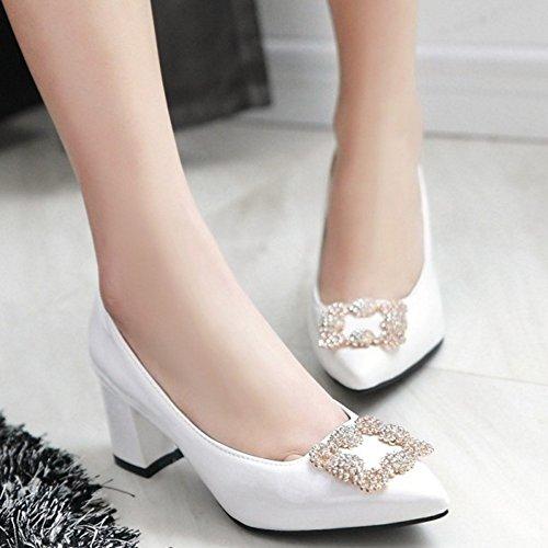 Chaussures Talon Blanc Chaussures Moyen Elegant A TAOFFEN Femme Basse Brevet Enfiler wfqp8Y