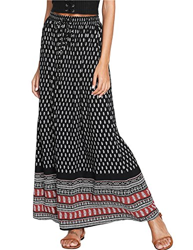 Milumia Women's Boho Vintage Print Pockets A Line Maxi Skirt Medium Multicolor-1 ()