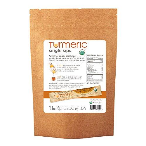 Cheap The Republic Of Tea Organic Turmeric Single Sips, 50 Single Servings of Instant Turmeric Tea