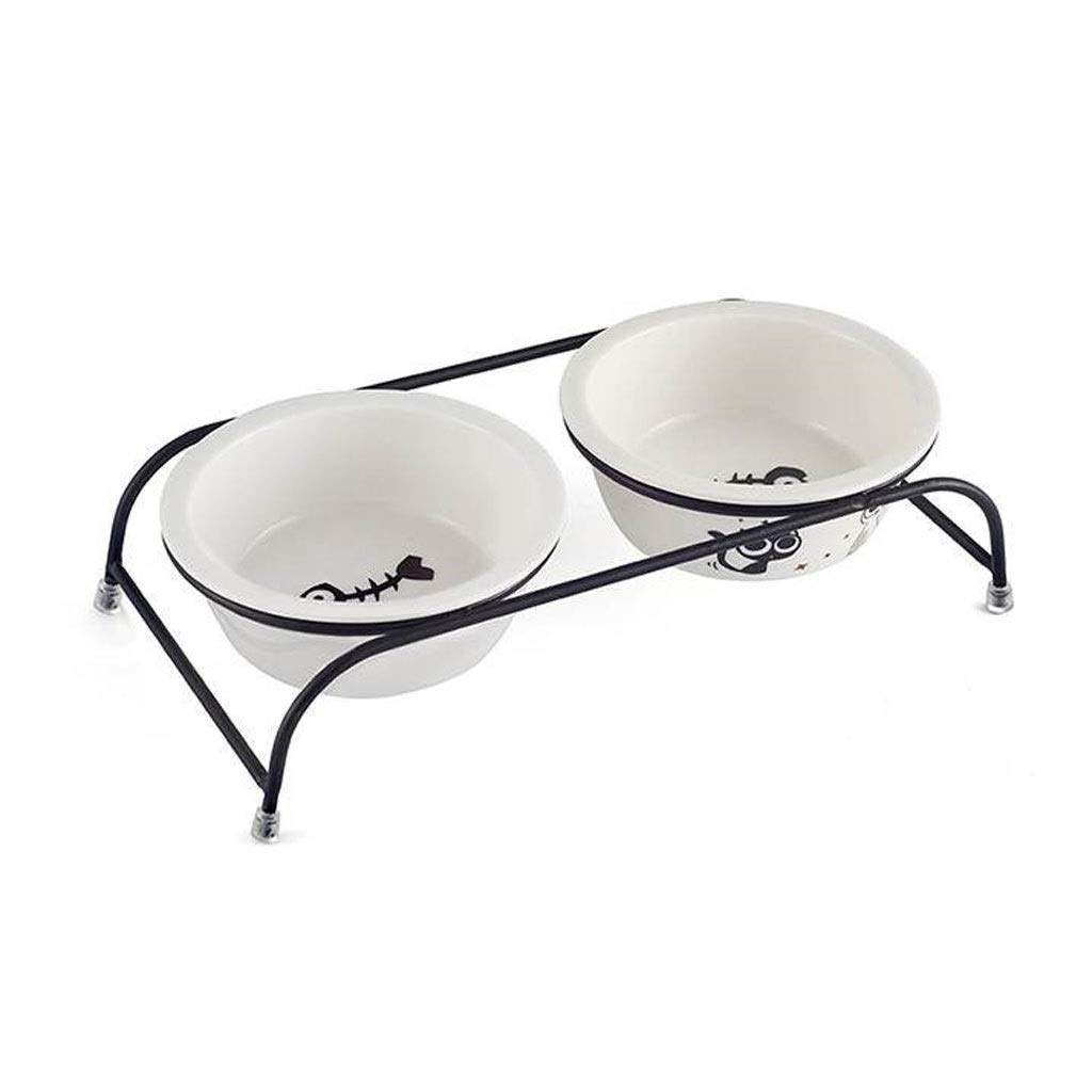 Fishbone 10.435.232.59inchs Fishbone 10.435.232.59inchs Creative Iron Frame Pet Cat Dog Food and Water Bowls Two Ceramic Bowls 2 in 1 Dual-use Pet Cat Dog Feeding & Watering Bowls (color   Fishbone, Size   10.43  5.23  2.59inchs)