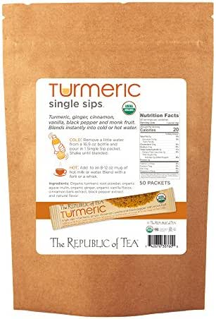 The Republic Of Tea Organic Turmeric Single Sips, 50 Single Servings of Instant Turmeric Tea
