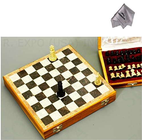 Beautiful Hand Carved Stone 10 inch Travel Chess Set and Purchasecorner Microfiber Cloth