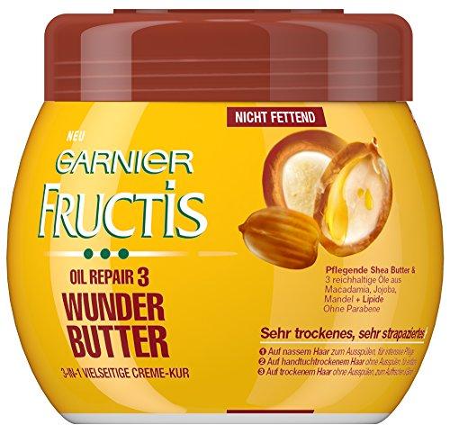 Garnier Fructis Oil Repair 3 Wunder Butter Creme Kur / Haarkur für sehr trockenes, strapaziertes Haar mit 3 Ölen aus Macadamia Mandel & Jojoba (ohne Parabene - nicht fettend) 3er Pack - 400ml