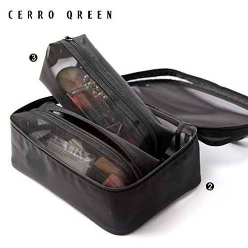 CerroQreen Makeup Bag Professional Artist Cosmetic Bag Mesh Bag Black