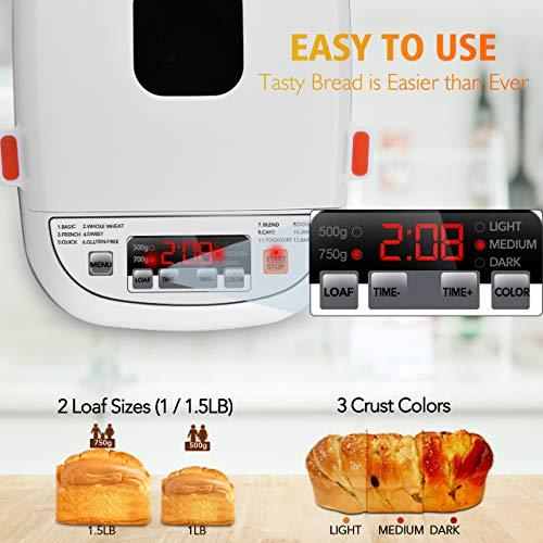 VIVREAL Bread Maker, Automatic Breadmaker Machine 1.5LB, Home Bakery Pro 12 Menus with Gluten Free, 3 Crust Colors 2 Loaf Sizes, 15h Delay Time 1h Keep Warm, Superior Safety ETL Listed Stainless Steel by VIVREAL (Image #4)