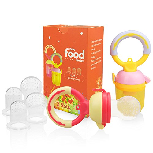 Baby Fresh Food Feeder Pacifier(2 Sets) - SILIVO Silicone Fruit Teething Feeder Teether Toy for Infants,Toddlers, and Kids - Includes All Sizes Silicone (Fresh Baby Food)