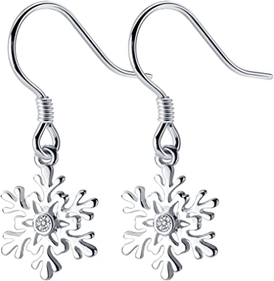 Sterling Silver Snowflake Drop Dangle Earrings