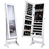 LANGRIA Mirrored Jewelry Cabinet Organizer, Full Length Standing Jewelry Storage Armoire with 2 Drawers and 3 Adjustable Angle, White Finish