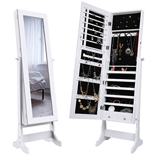 LANGRIA Mirrored Jewelry Cabinet Organizer, Full Length Standing Jewelry Storage Armoire with 2 Drawers and 3 Adjustable Angle, White Finish (Jewelry Case Stand Mirror)