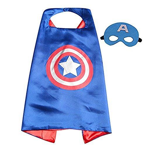 Superhero Capes,XCT Halloween Party Children Cosplay Comics Cartoon Dress Up Costume Satin Cape with Felt Mask (Captain (Captain America Dress Up)
