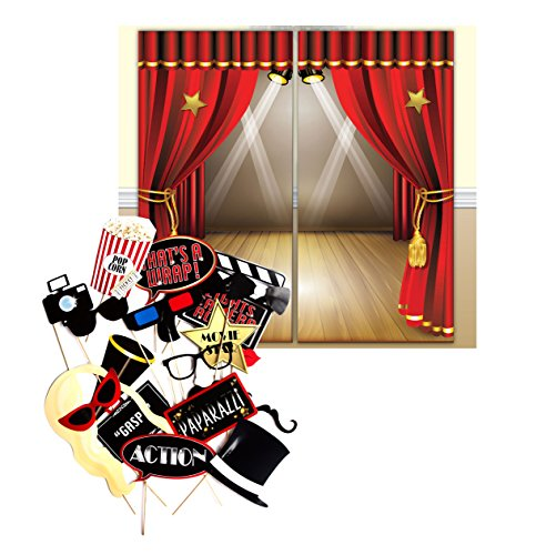 Hollywood Movie Themed Decoration Backdrop and Photo Booth Props by Express Novelties (Movie Party Decorations)