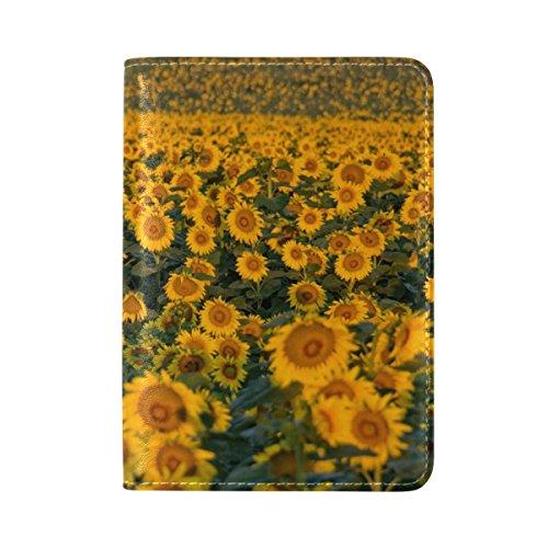 COOSUNSonnenblumen Leder Reisepasshülle für Travel One Pocket