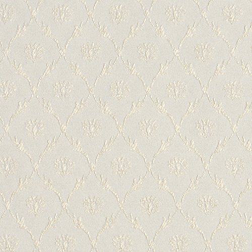 (Oyster White Cameo Floral Trellis Dimond Pattern Damask Upholstery Fabric by the yard)