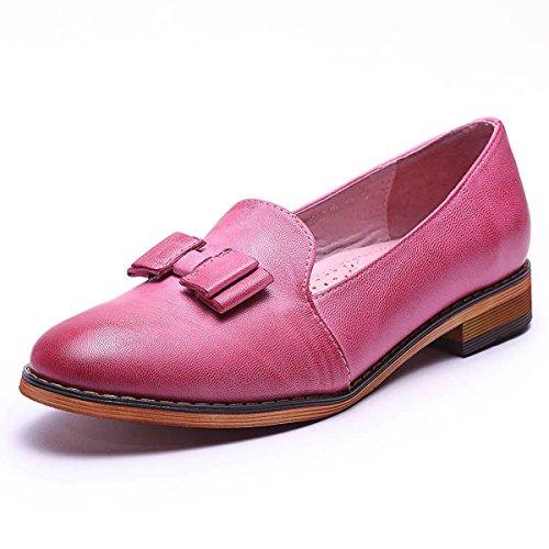 Mona Vliegende Vrouwen Leren Instappers Loafers Schoenen Voor Dames Handgemaakte Originele Dames Schoenen Roze 2