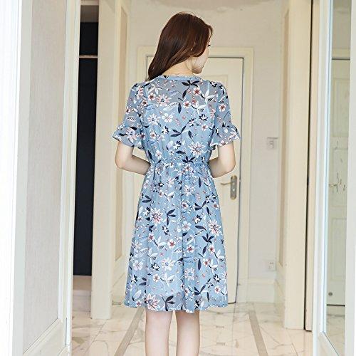 Blue Vestido Gasa Encaje Xuanytp Falda Playa Cuello Manga falda La Cintura Redondo Elástica Línea Fino Midi Una Corta falda De Delgado d77qwR