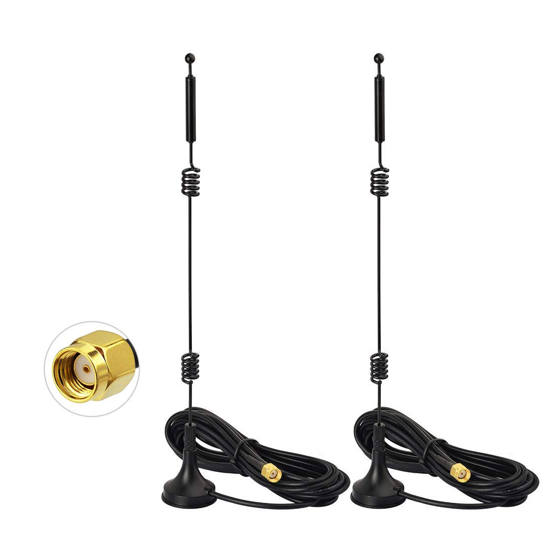 Bingfu Dual Band WiFi 2.4GHz 5GHz 5.8GHz 9dBi Magnetic Base MIMO RP-SMA Male Antenna (2-Pack) for WiFi Wireless Router Booster Range Extender Gateway Mini PCI Express PCIE Network Card USB Adapter by Bingfu