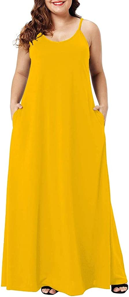 Clearance! Womens Plus Size Dresses, Casual Loose V Neck Sleeveless Maxi Dress Pockets Ankle Length Dress Party Dress