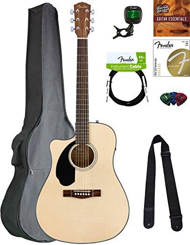 Fender CD-60SCE Dreadnought Acoustic-Electric Guitar - Left Handed, Natural Bundle with Gig Bag, Tuner, Strap, Strings, Picks, Austin Bazaar Instructional DVD, and Polishing Cloth (Handed Guitars Left Electric Acoustic)