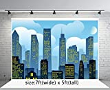 7x5ft Super City Photo Studio Photography Background Blue Sky for Children Backdrop