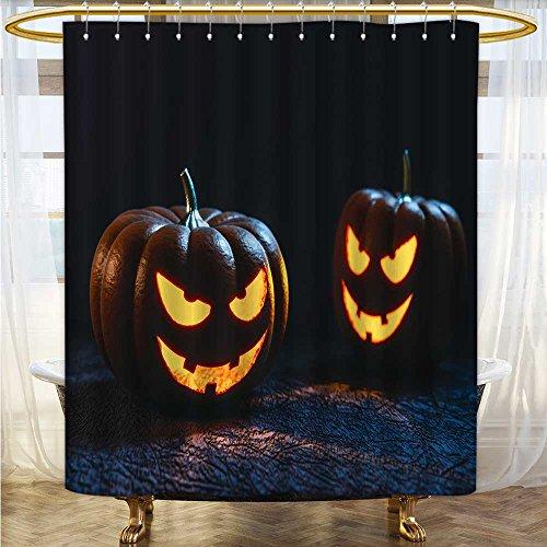 (Mikihome Shower Curtains Fabric Halloween Pumpkin Lantern Bathroom Decor Set with Hooks W72 x H72)