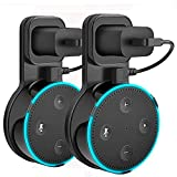 Outlet Wall Mount Hanger Holder Stand for Dot 2nd Generation (Short Cable Included) Plug in Kitchens, Bathroom and Bedroom Black Pack of 2