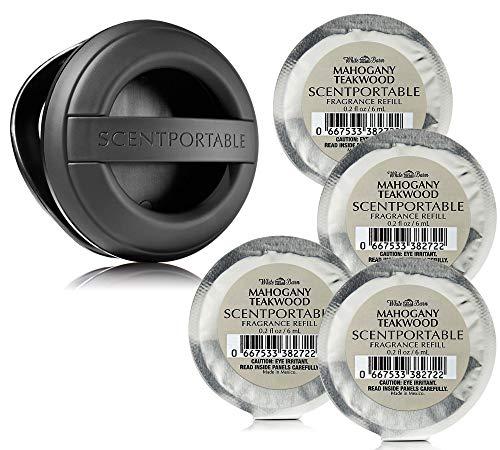 5 Pc Set - Bath & Body Works Scentportable Black Rubber Clip & 4 Mahogany Teakwood Refills (Bath Body Works Car)