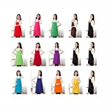 TSD STORY Total 15 PCS Plain Color Bib Apron Adult with 2 Front Pocket (Colorful)