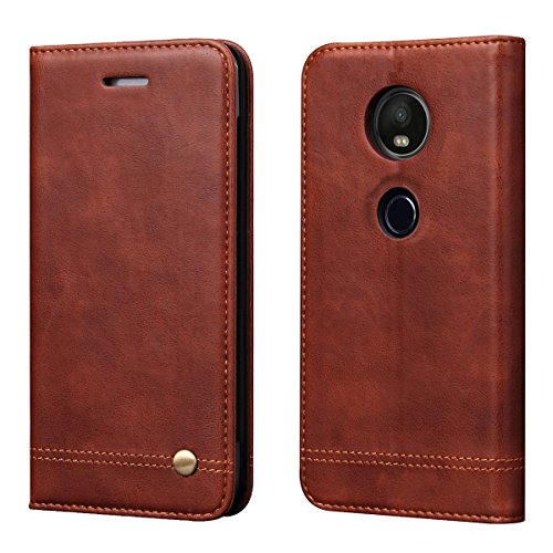 Moto E5 Plus Case, Moto E5 Supra Case,RUIHUI Luxury Leather Wallet Folding Flip Protective Case Cover with Card Slots,Kickstand and Magnetic Closure for Motorola Moto E Plus (5th Generation) (Brown)
