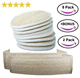 "MyM Exfoliating Loofah Sponge Pads (Pack of 8) - Large 4x6"" - 100% Natural Loofah Material Loofah Sponge for Men and Women, Perfect for Bath Shower and Spa"