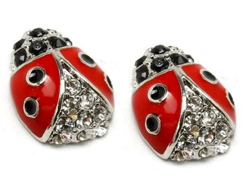 Crystal Accented Small Red and Black Enamel Ladybug Stud Earrings Fashion Jewelry (Silver Tone)